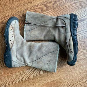 Keen Mid Calf Zip Light Brown Leather Boots Sz 9.5